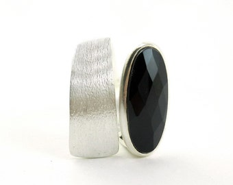 Black onyx wide band ring Sterling silver asymmetric gemstone ring Contemporary urban jewelry brushed silver