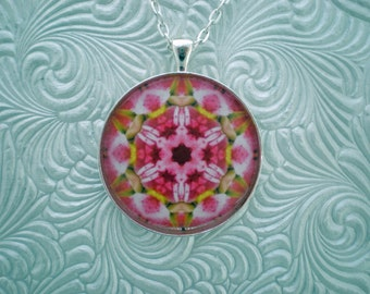 Pink flower kaleidoscope pendant necklace