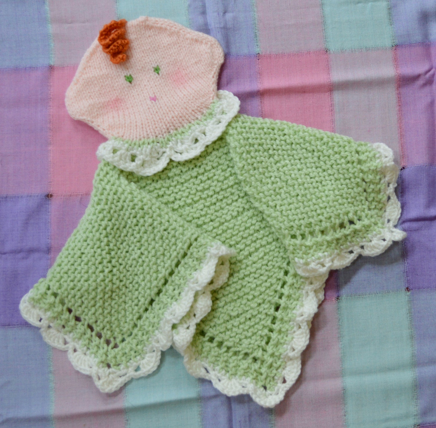 PDF Knitting Pattern HugKnits Baby Doll Security blanket