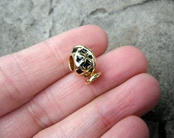 World Globe Charm, Gold Charm, Bracelet Charm, European Charm Bead, Pugster Charm