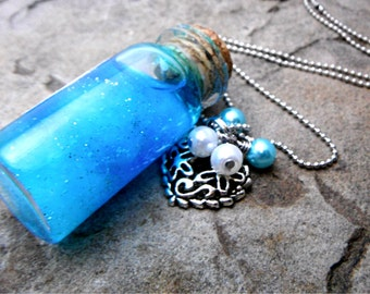 Clouds in a Bottle Necklace, Cloud Necklace, Potion Bottle Necklace, Fantasy Necklace, Mini Glass Bottle Necklace, Cork Bottle Necklace
