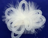 Ivory Fascinator, Ivory Fluffy Marabou Feathers, Ivory Tube Crin Crinoline Horsehair Braid, Ivory Hair Accessory, Comb