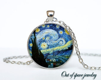 Starry night Van Gogh pendant  Starry night necklace Starry night jewelry