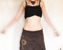 Pixie skirt. festival. Earthy skirt. Goa. Lotus flower.  Handmade painting. Psytrance. Hippie. Tribal. Elven skirt.