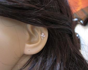 Sterling Silver Cross Cartilage Earring, cross stud earring, tiny cartilage , Tragus, Tiny stud Earring, silver cartilage, cross earring