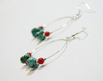 Silver Earrings, Turquoise and Bamboo Coral Earrings, Turquoise and Red Earrings, OOAK Jewelry