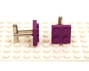Purple colour cufflinks. Cufflinks made with LEGO(R) bricks.    Cuff links Cufflink Wedding gift