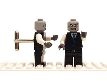 Zombie Businessman. Suit and Tie zombie. Halloween. Cufflinks made with LEGO(R) bricks. Wedding gift, groomsman party gift