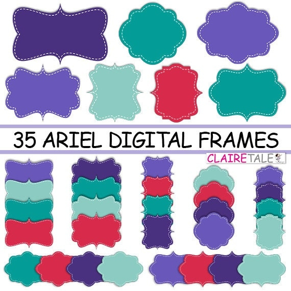 "Digital clipart labels: ""ARIEL DIGITAL FRAMES"" clipart frames, labels, tags for scrapbooking, cards, invitation, stationary, albums"