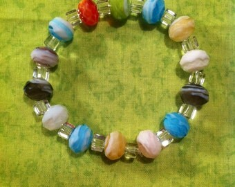 Frosted Lampworked Glass Bracelet