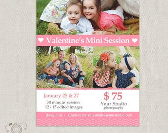 Valentine's Day Mini Session Template - Photography Marketing Template - Mini Session Board 039 - C135, INSTANT DOWNLOAD