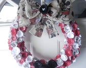 Custom Handmade Mickey Mouse and Minnie Mouse Wreath with Paper FLowers and Burlap ANY Colors!!!