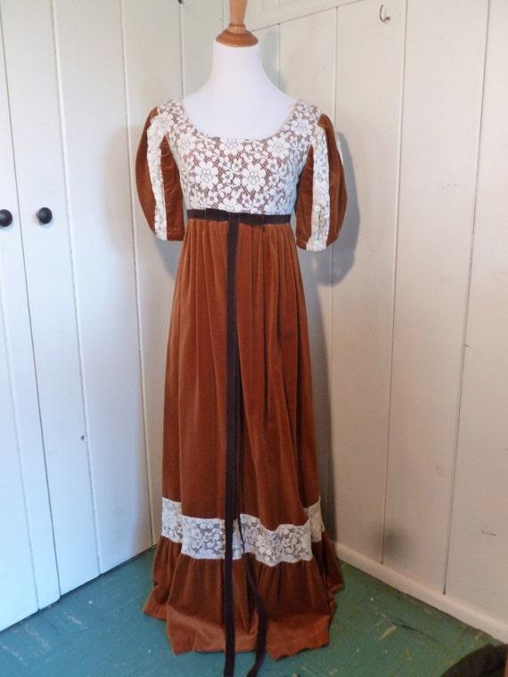1970s Vintage Lace & Orange Velvet Couriers Dress