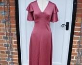 1970s Pink Blush Coloured Maxi Dress Ruffles Flamenco Style English Lady Brand