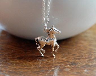 Horse charm necklace -equestrian necklace, sterling silver horse necklace, horse necklace