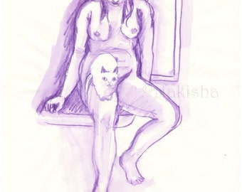 Purple Nude with Cat - Original pencil and watercolor drawing - Mature