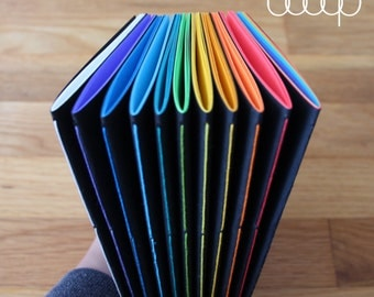 "Little Black Book - 5.5"" x 8.5"" Handmade Notebook w/48 Pages - Available In 12 Colors Including Rainbow"