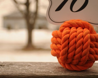 Nautical Wedding - Orange Cotton Rope - Nautical Decor - Monkey Fist Knots - (this is for 12 knots)