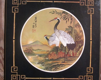 a set of TWO Oriental Bird prints