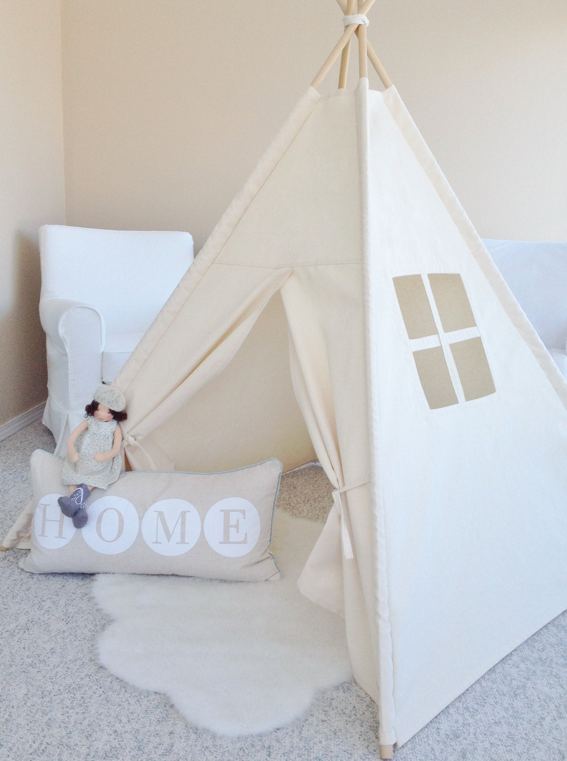 large natural canvas teepee play tent play house by. Black Bedroom Furniture Sets. Home Design Ideas
