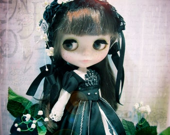 Blythe Gothic Victorian Vampire Black Beauty Evening Star Princess dress Completed Set (6 pcs.)