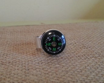 All Who Wander Mini Compass Ring