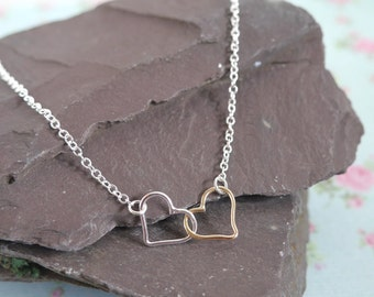 Entwined Hearts Necklace, Romantic, Mixed Metals, Mothers Day Gift Idea, Linked, 2 Heart Necklace, Romantic Jewellery,Gift for Her