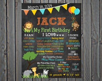 Jungle First Birthday Chalkboard Poster // Zoo Theme // Jungle Theme // Safari Theme // 16x20 // First Birthday Poster