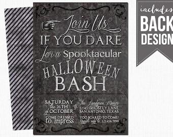 printable halloween invitation, creepy, custom