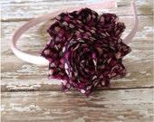 SALE Black & Pink Hearts Shabby Chic Flower Basic Headband, Toddler Headband, Valentines Day Headband, Basic Headband, Adult Headband