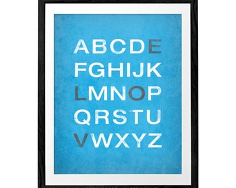 Alphabet with love in blue. Typographic print Blue Alphabet print love print Typography poster Blue wall art nursery print nursery poster