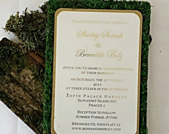 Rustic Garden Moss Wedding Invitation - Custom Wedding Invitation Glen Nature Woodsy