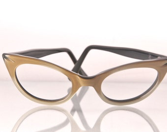 1950s gold and black cat eye glasses, The Gold Star, Childs size.