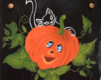 Hand Painted Slate  Halloween Welcome Slate  Made to Order
