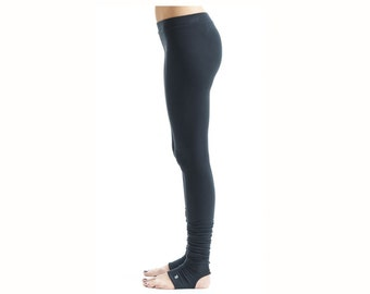 Arya Yoga Clothes/ Black Leggings With Spats/ Extra Long Leggings/ Arya Black Leggings by AryaSense/ LWSP13BL
