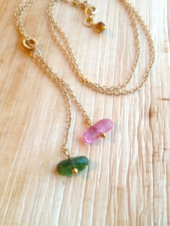 Delicate Tourmaline Necklace Gold Filled Chain October Birthstone Bridal Jewelry,Heart Chakra, gift  for Her Mother's Day gift