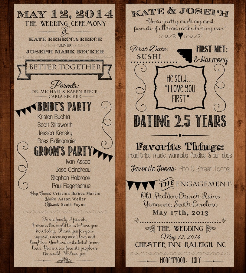 Our Love Story / Wedding Program Printable / 4.25×11 – Bride, Groom, Invitation, Ceremony, Kraft ...