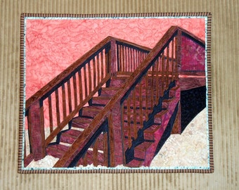 STAIRS Art Quilt with raw edge applique, thread painting -  beach ocean vacation surf dunes - photo to quilt, wall art, wall decor, fiber