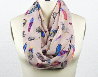 Feather Scarf: Soft Pink Scarf - Blue Pink Grey Feather Scarf - Patterned Scarf - Infinity Scarf