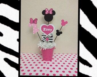 Zebra Minnie Mouse Birthday Decoration Centerpiece - Baby Shower