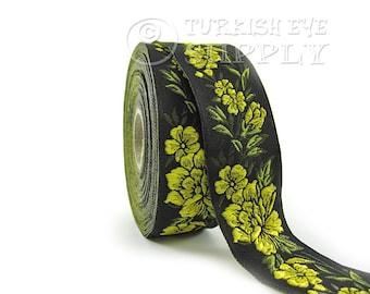 Floral Woven Border Embroidered Ribbon Sewing Trim Black Yellow Green Jacquard Ribbon 1 Meter ( 1.09 Yards, 3.3 feet )