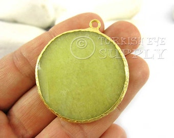 36mm Lime Green Pendant, Round Faceted Jade Pendant, Gemstone Pendant, Gold Plated Bezel, Turkish Pendant, Turkish Jewelry