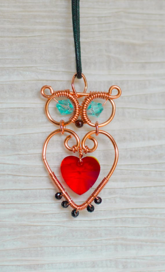 Recycled Wire Wrapped Copper Owl Necklace By