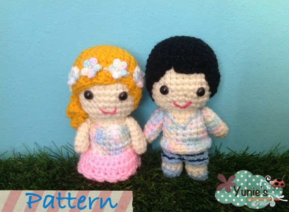 Crochet Pattern Amigurumi Cat : Crochet Pattern Doll : Wedding amigurumi Couple Doll Crochet