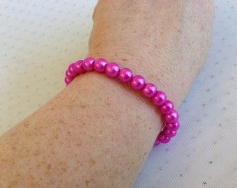 Pink Pearl Bracelet, Pink Weddings, Fuchsia Bridesmaid Jewelry, Prom Jewelry, Beaded Bracelet, Gift for Her, Pearl Wedding Bridal Jewelry