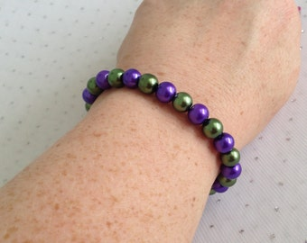 Purple Bead Bracelet, Purple Bridesmaid Jewelry, Purple and Green Wedding, Bridesmaid Gift, Olive Green Bracelet, Purple Pearl Bracelet