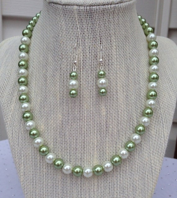 green pearl necklace olive green necklace by
