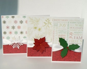 Christmas Card Set of 3 Elegant Handmade Blanc Cards with Satin Ribbon and 3D Embellishment - Poinsettia, Holly Berry and Snowflake