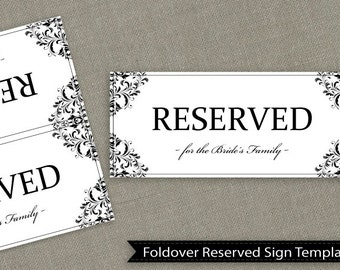 reserved seating signs template - wedding reserved sign template download instantly