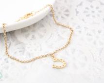 Horse shoe bracelet, infinity charm, gold bracelet,charm bracelet, gold chain bracelet, cute bracelet, friendship bracelet, gold chain